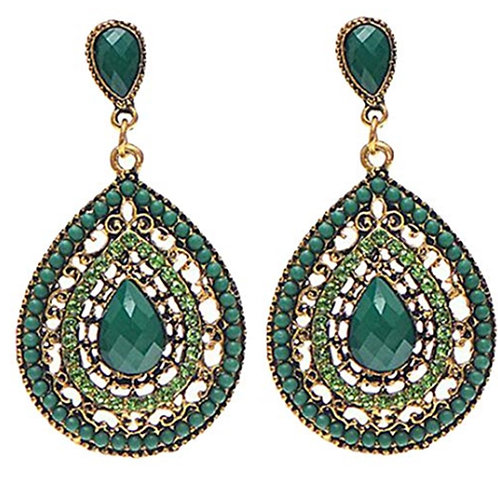 Jade Green Bead Dangly Earrings