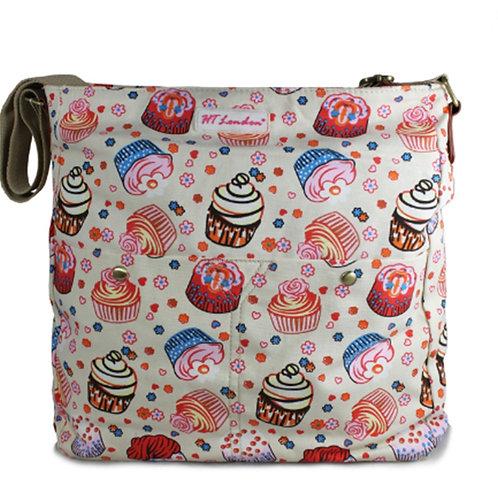 Large beige Cupcakes Messenger Bag
