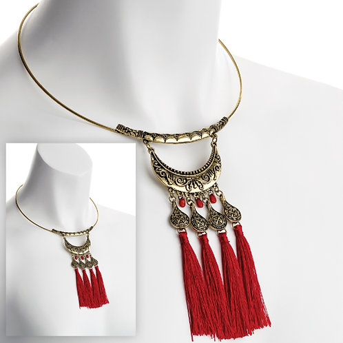 Gold Collar Tribal Red Tassel Necklace