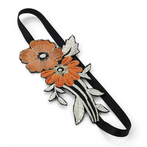 Orange and Black Stretchy Hairband Wrap