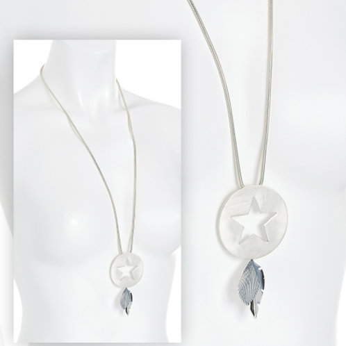 Long Silver Colour Cut out Star Leaf Pendant Necklace