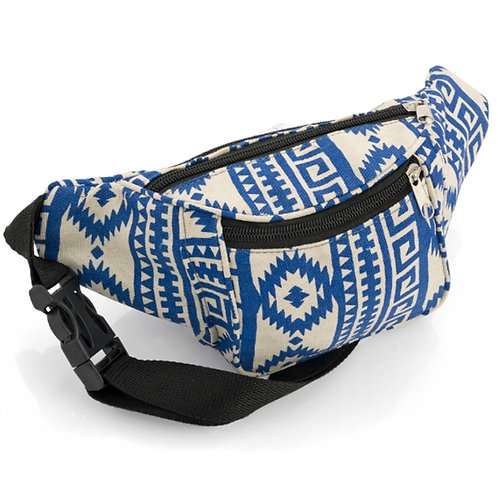Blue and Beige Abstract Pattern Bum Bag