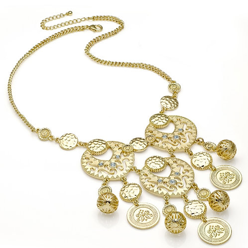 Gold Boho Tribal Disc Droplet Necklace