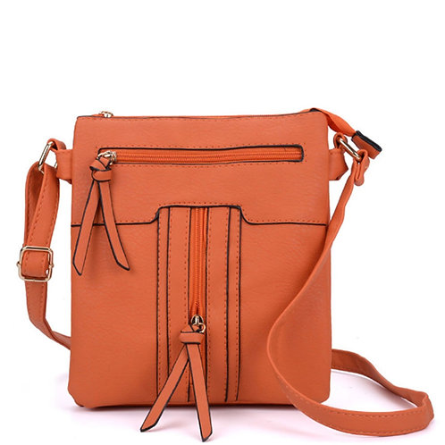 Orange Cross Body Messenger Bag Zipped Detail