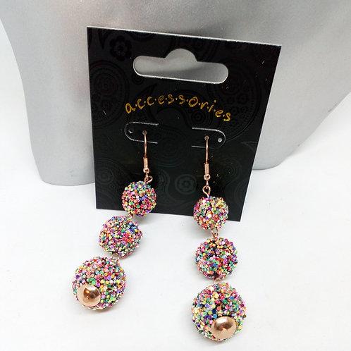 Multi colour glitter rose gold ball drop earrings