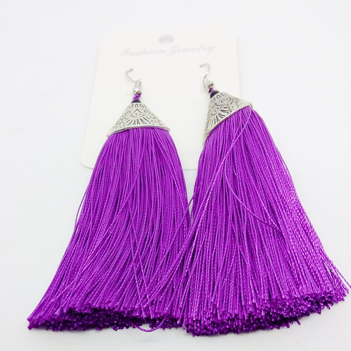 Womens Pink Purple Tassel Long Drop Earrings