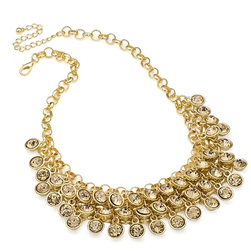 Gold Cascade Jewelled Topaz Brown Necklace
