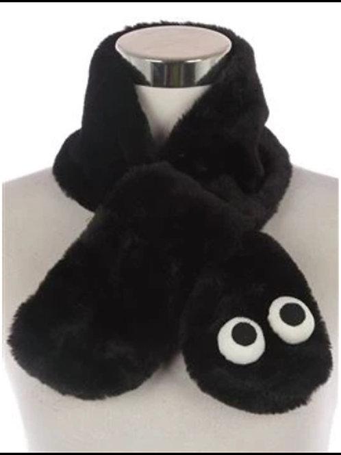 Kids Black Furry Googly Eye Pull Through Scarf