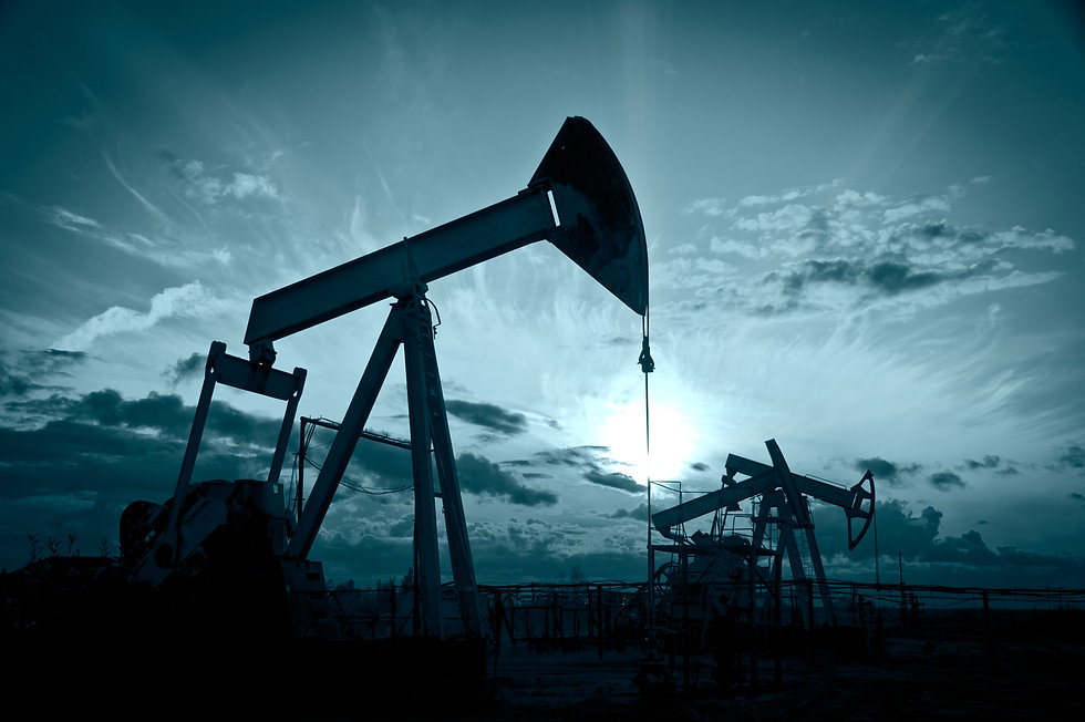 Oil and gas industry. Silhouette oil pum