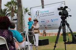 Actress Kathy Bates Kicking off Walk