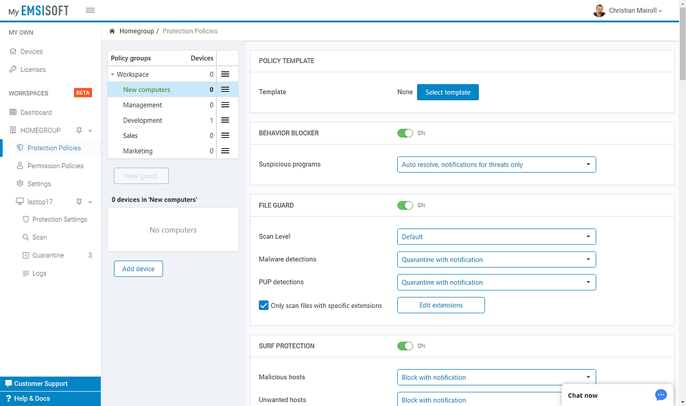 Emsisoft Cloud Console – Settings policies for groups of devices