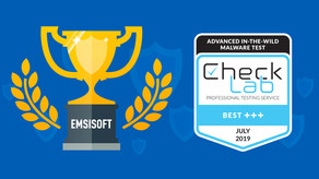 Emsisoft Business Security recibió la insignia Best +++ en las pruebas de CheckLab de julio de 2019