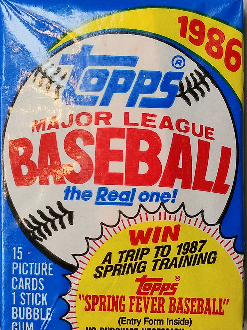 1986 Topps Baseball Wax Pack (Personal Pack Only)