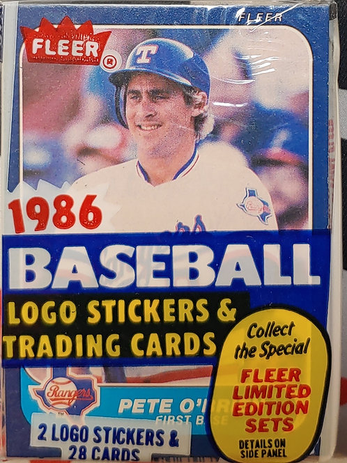 1986 Fleer Baseball Cello Pack (Personal Pack Only)