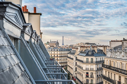 Paris roofs with Eiffel Tower in backgro