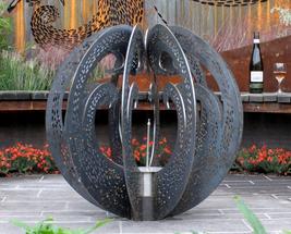 The Garden of The Little Wattlebird fire ball sculpture