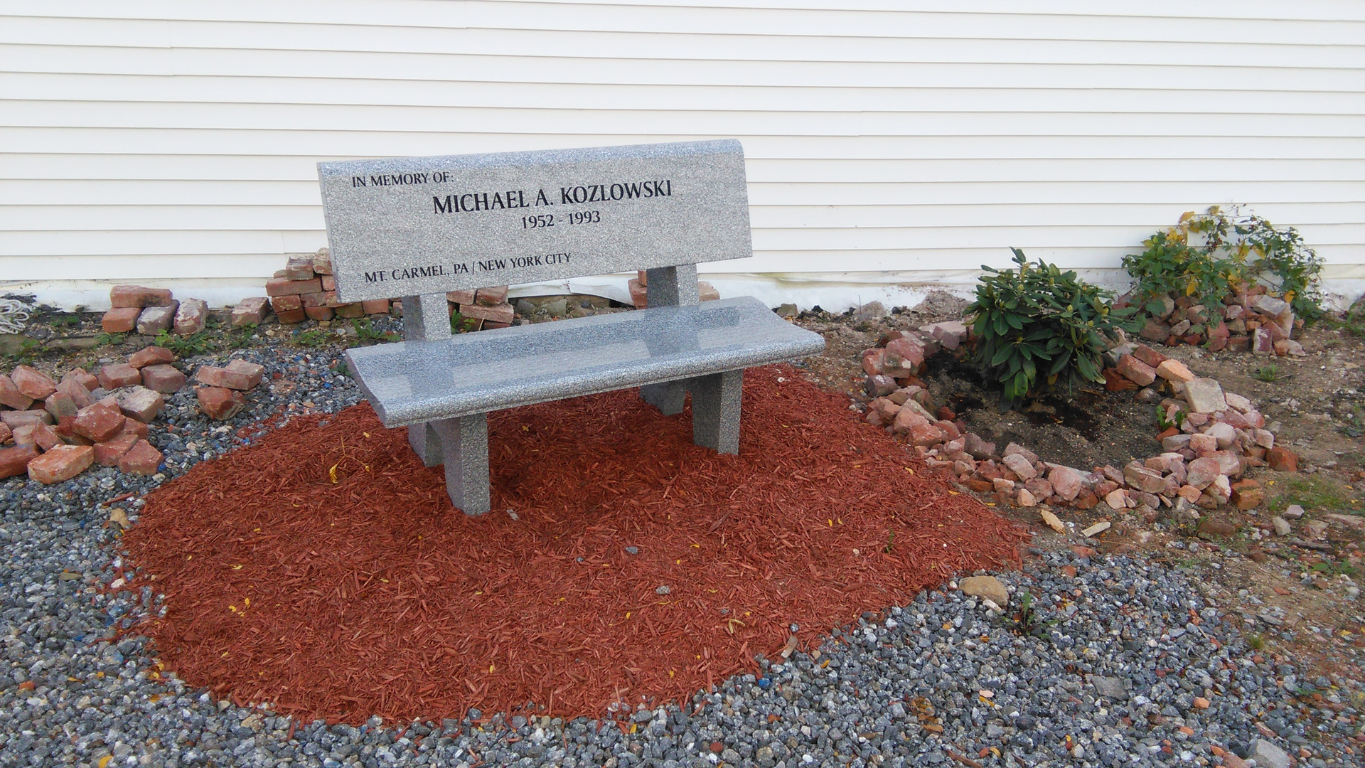 Granite Bench in Memory of Michael Kozlowski