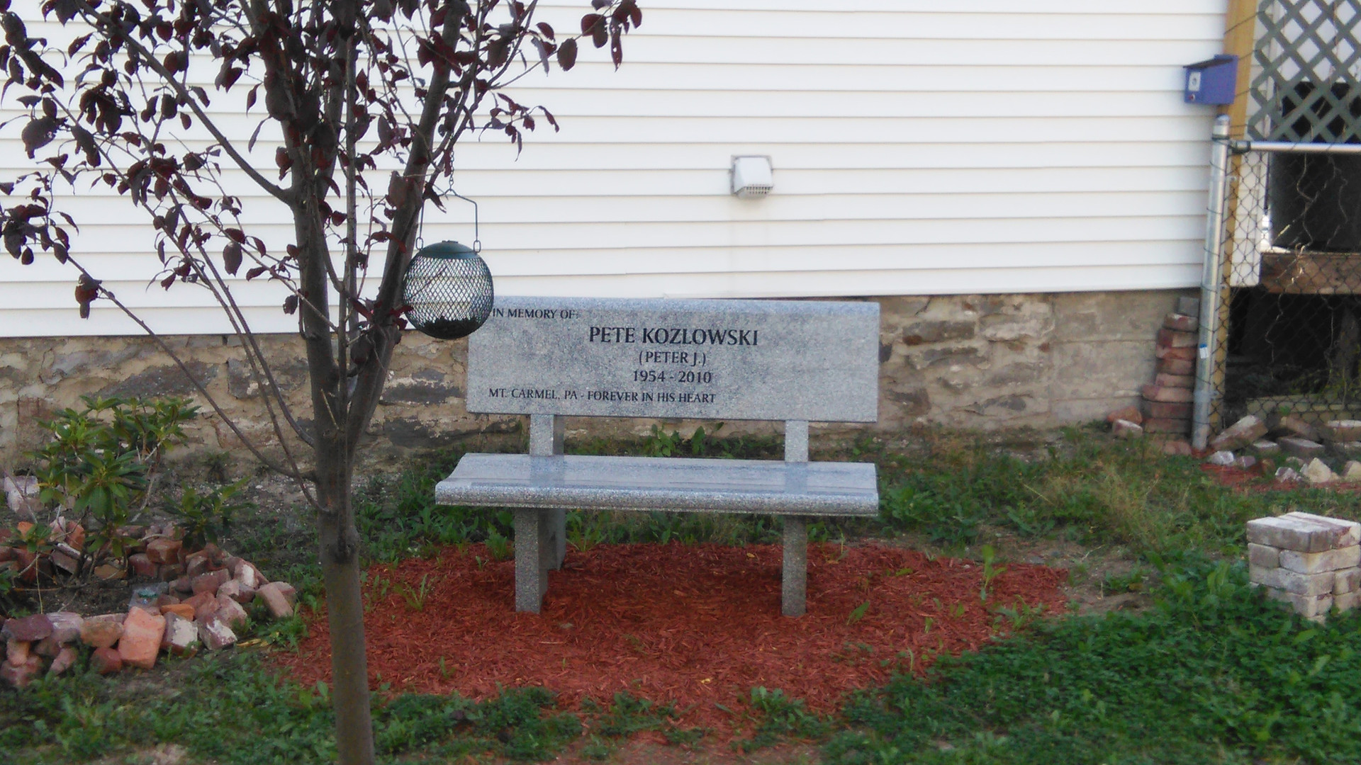 Granite Bench in Memory of Pete Kozlowski