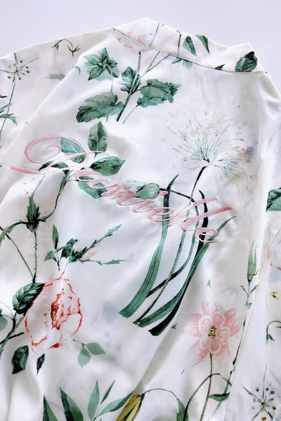 Blush pink embroidery on floral robe