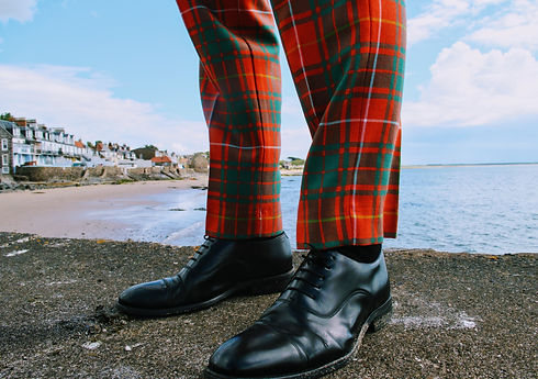 Argyll trews with toe cap Oxford shoes