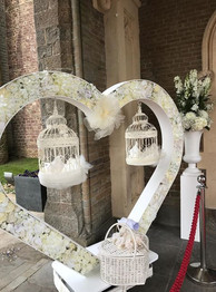 at the entrance to her wedding