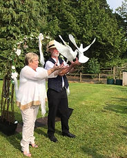 Releas doves to celebrate vows