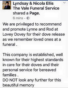 Lyndsay Ellis Funeral Director Barry Reviews White Doves
