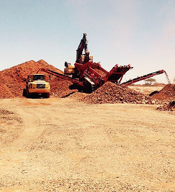 Land excavation and rock processing near Orange River