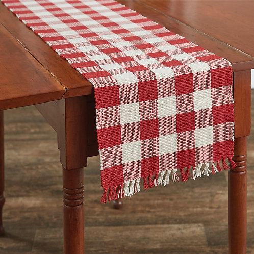 """Wicklow 54"""" Table Runner - Red and Cream"""