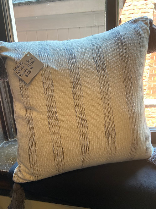 White and Grey Tassle Pillow