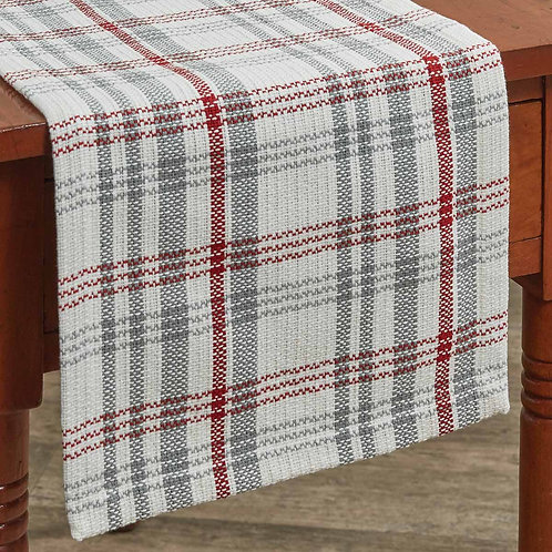 "Farm Yard 36"" Table Runner-Red, Grey&White"
