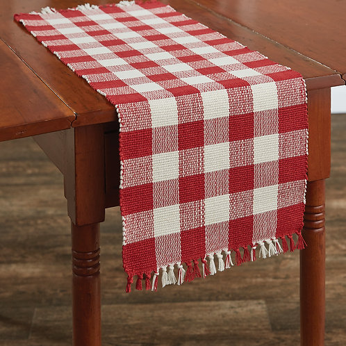 """Wicklow 36"""" Table Runner - Red&White"""