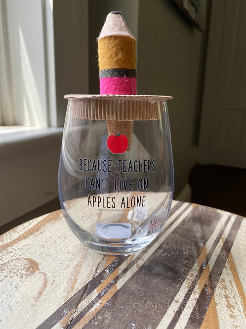 Pencil Cork Teacher Wine Glass