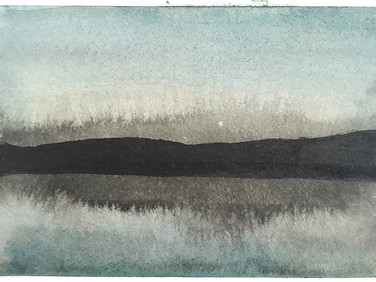 About Chaos theory and Landscape studies, part 23, 2020, 148 x 105 mm, ink and watercolor on bamboo paper