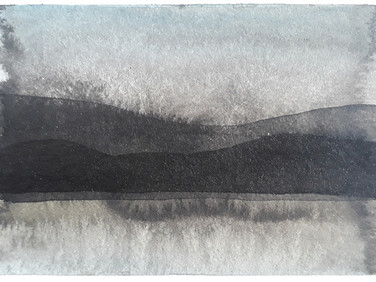 About Chaos theory and Landscape studies, part 16, 2020, 148 x 105 mm, ink and watercolor on bamboo paper