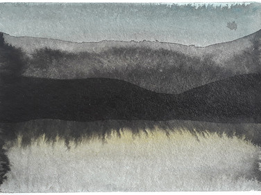 About Chaos theory and Landscape studies, part 7, 2020, 148 x 105 mm, ink and watercolor on bamboo paper
