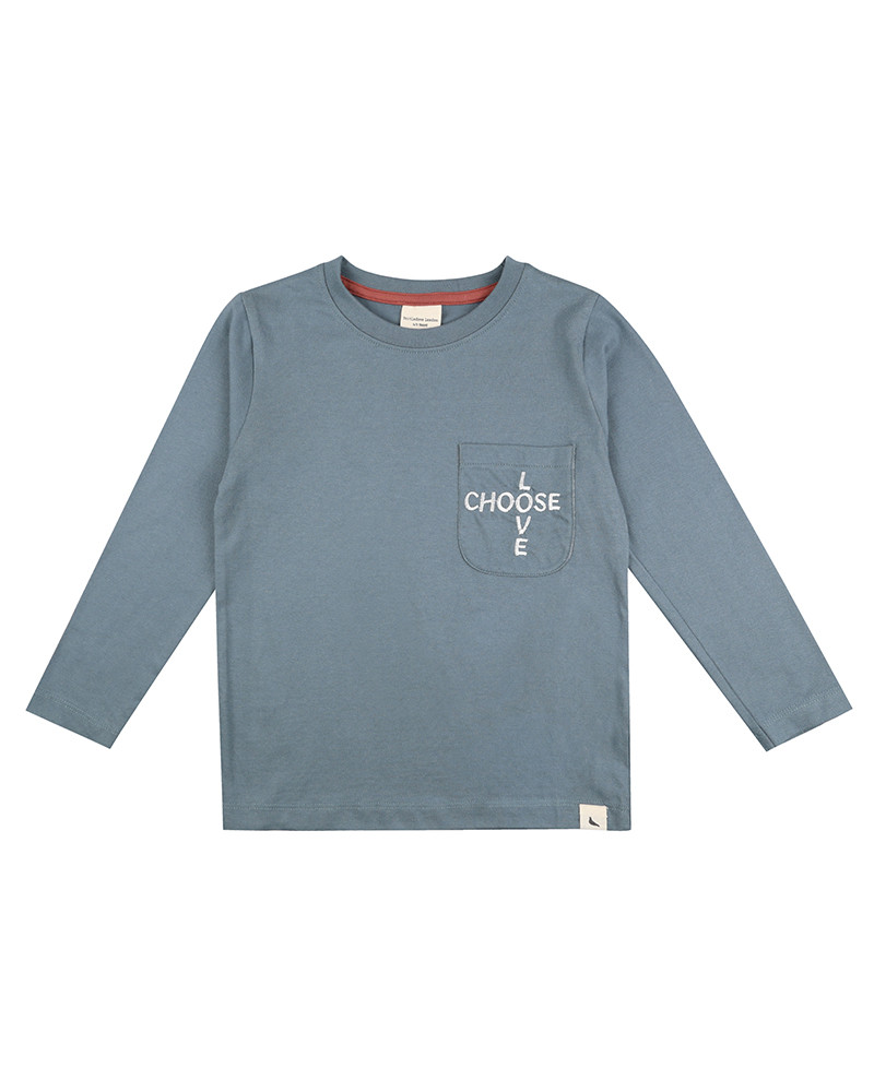 A blue long sleeve t shirt with choose love embroidered on the pocket.Suitable for babies and toddlers