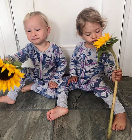 Twin boys wearing a foral Bonds Wondersuit. Purple and grey colour
