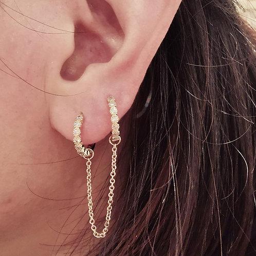 Boucle d'oreille chaînette plaqué