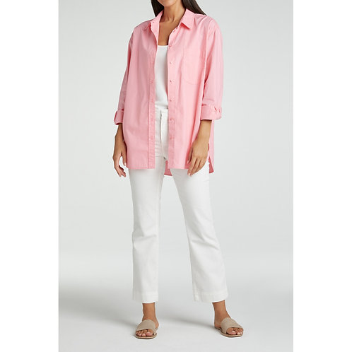 Boxy poplin blouse with long sleeves