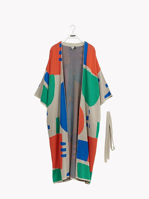 LONG CARDIGAN, Travel Grey/Green/Red/Blue, Adults