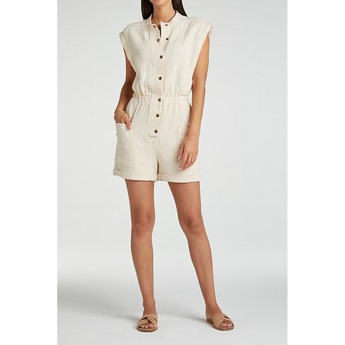 Viscose blend short jumpsuit with pocket