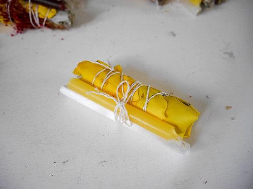 Golden Yellow Selenite Wand & Candle Sage Bundle