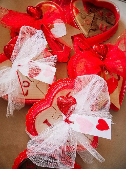 """I Love U""  Puzzle Heart Box"