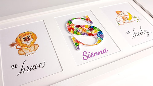 Quilled Personalised Letter with Baby Animals Nursery Art