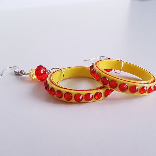 Quilled Yellow/Red Hoop Earrings