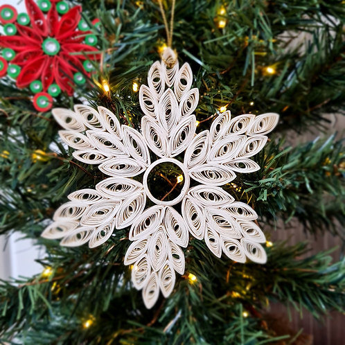 Large Quilled Paper Snowflake - Tree Ornament