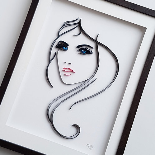 Beauty In Blue Eyes Quilled Wall Art