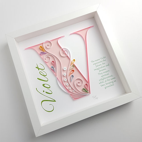 Swirl Monogram Letter with Name Wall Art