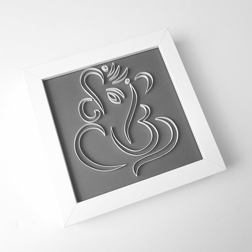 Small Ganesh Quilled Frame - GREY